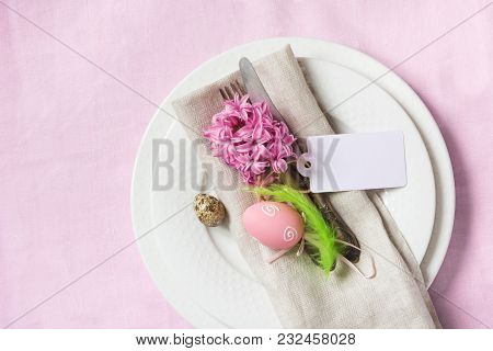 Easter Romantic Dinner. Elegance Table Setting Spring Pink Flowers On Pink Linen Tablecloth. Top Vie