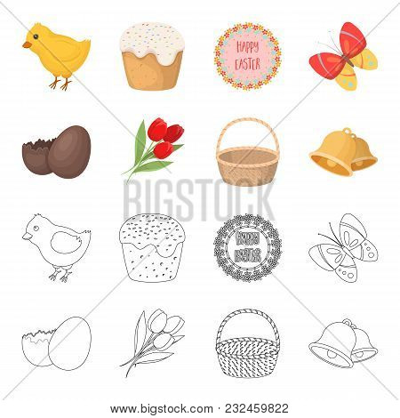 Chocolate Egg, Bells, Basket And Flowers.easter Set Collection Icons In Cartoon, Outline Style Vecto