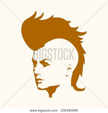 Face Half Turn View. Elegant Silhouette Of A Female Head. Vector Illustration. Mohawk Hair Style. Mo