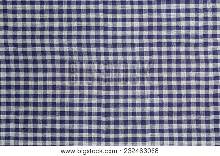 Blue White Checked Kitchen Towel Background Structure.