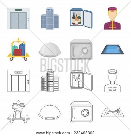 Trolley With Luggage, Safe, Swimming Pool, Clutch.hotel Set Collection Icons In Cartoon, Outline Sty