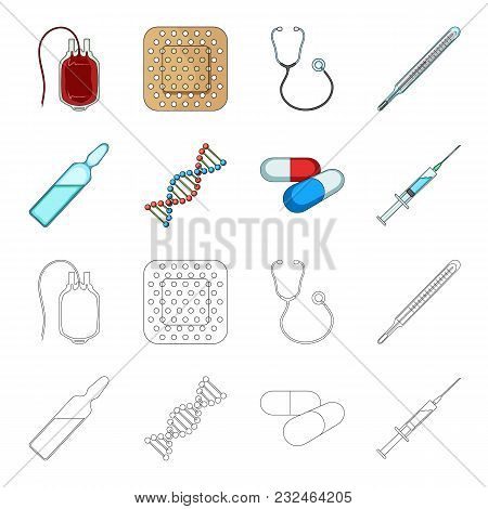 Human Dna And Other Equipment.medicine Set Collection Icons In Cartoon, Outline Style Vector Symbol