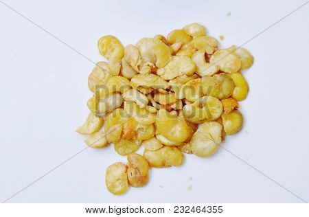 Baked Salt Broad Beans On White Background