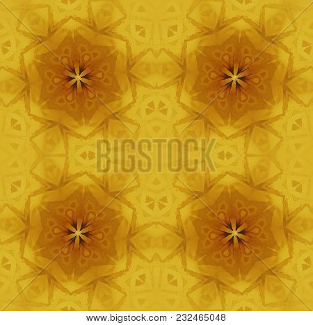 Abstract Geometric Background. Regular Star Ornaments Gold And Ocher On Yellow, Ornate And Dreamy.