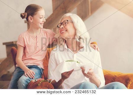 My Dear Child. Pleasant Nice Aged Woman Sitting In The Armchair And Smiling To Her Granddaughter Whi