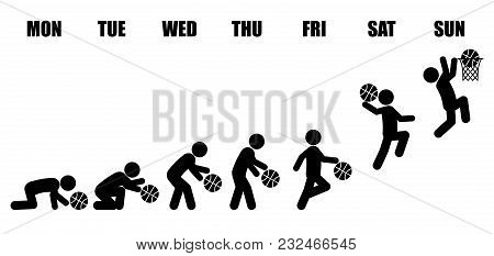 Abstract Working Life Cycle Evolution From Monday To Sunday Concept In Black Stick Figure Playing Ba