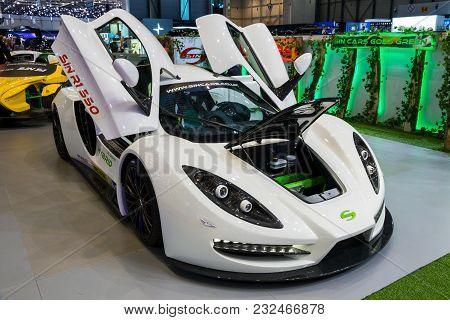 Geneva, Switzerland - March 7, 2018: Sin Cars Sin R1 550 Plug-in Hybrid Sports Car Showcased At The