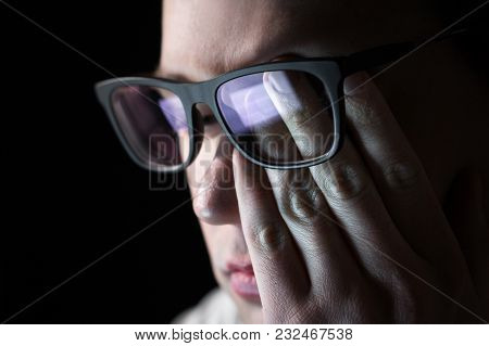 Man Rubbing Tired Eyes. Problem With Glasses, Eyesight Or Vision. Person Having Stress Or Depression