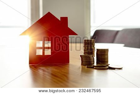 Saving Money To Buy New House. High Rent Price Or Home Insurance Cost. Happy Real Estate, Mortgage A