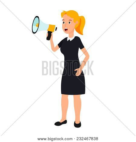 A Woman In A Black Dress Is Talking Through A Loudspeaker. Businesswoman Speak To Megaphone. Vigorou