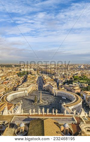 Rome Aerial View From Saint Peter Basilica Viewpoint
