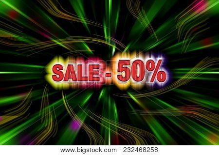 Fifty Percent Discount With A Simulation Volume With A Rainbow Glow On The Background Of The Linear