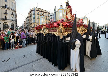 Zaragoza, Spain - April 18: Unidentified People In The Good Friday Procession April 18, 2014 In The
