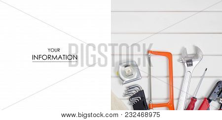 Build Tools Repair Fix Pattern On A White Wooden Background