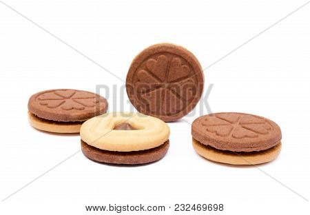 Chocolate Heart In Round Biscuit Isolated On White Background