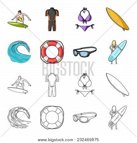 Oncoming Wave, Life Ring, Goggles, Girl Surfing. Surfing Set Collection Icons In Cartoon, Outline St