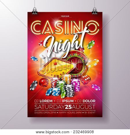 Vector Casino Night Flyer Illustration With Roulette Wheel And Shiny Neon Light Lettering On Red Bac