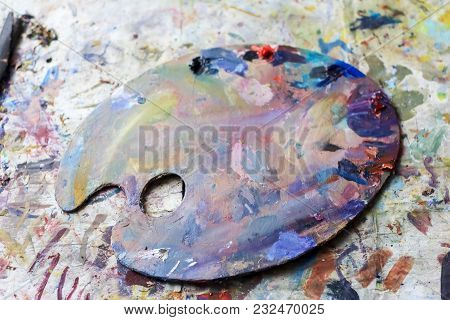 Palette With Watercolor Paint. Not New, Artistic Designs. Creative Space Of The Artist.