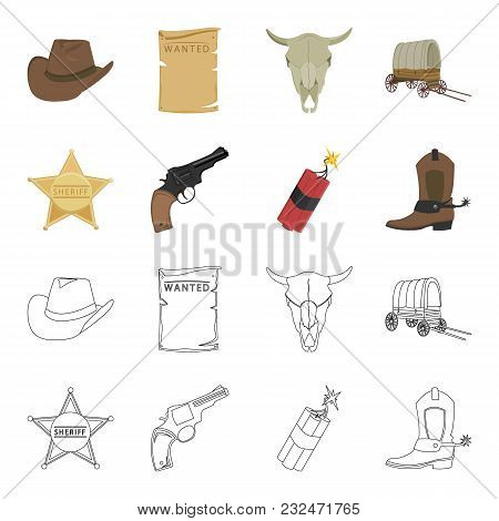 Star Sheriff, Colt, Dynamite, Cowboy Boot. Wild West Set Collection Icons In Cartoon, Outline Style