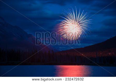 Fireworks Over Vermillion Lakes, Banff National Park, Alberta, Canada