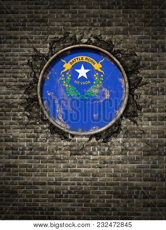 3d Rendering Of A Nevada State Flag Over A Rusty Metallic Plate Embedded On An Old Brick Wall