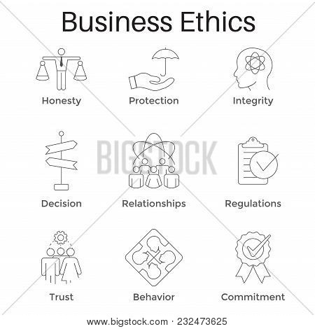 Business Ethics Outline Icon Set with Honesty, Integrity, Commitment, and Decision poster