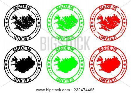 Made In Iceland - Rubber Stamp - Vector, Iceland Map Pattern - Black, Green And Red