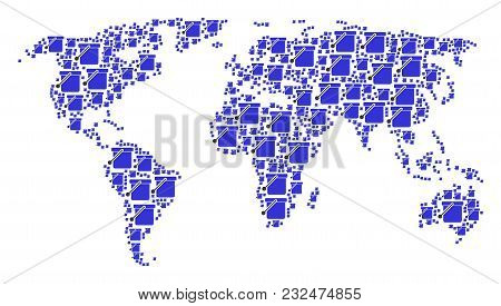 World Map Concept Made Of Bucket Elements. Vector Bucket Icons Are Composed Into Mosaic Global World