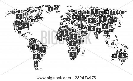 International Atlas Composition Combined Of Business Case Icons. Vector Business Case Elements Are U