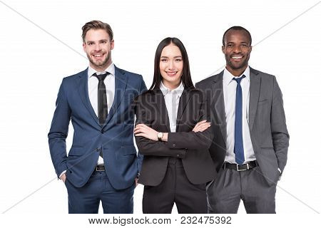 Portrait Of Multicultural Young Stylish Business People In Suits Isolated On White