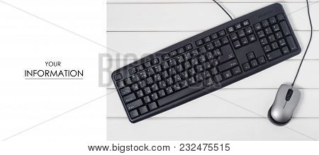 The Mouse Keyboard From Computer Pattern On White Wooden Background Isolation