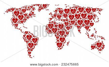 Earth Map Mosaic Made Of Cardiology Icons. Vector Cardiology Pictograms Are United Into Geometric Co