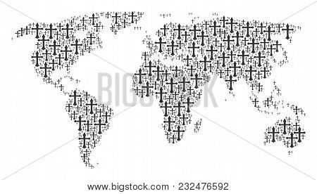 Worldwide Atlas Composition Organized Of Christian Cross Pictograms. Vector Christian Cross Icons Ar