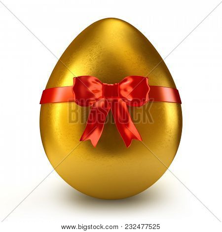 Single golden egg with red ribbon and bow - 3d render