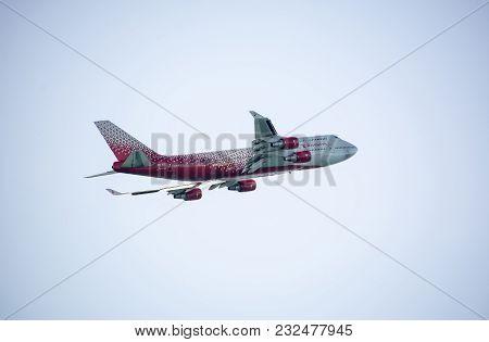 Adler, Russia - September 8, 2017 Russian Airlines Boeing 747-400 Reg. Ei-xlf In Fly