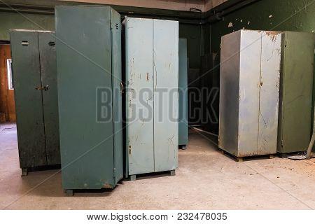 Old Iron Racks In The Factory Locker Room