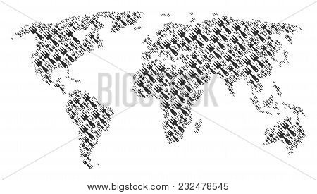 Continent Map Concept Made Of Cultivator Rake Pictograms. Vector Cultivator Rake Design Elements Are