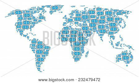 Continent Atlas Concept Combined Of Dollar Banknote Pictograms. Vector Dollar Banknote Items Are Uni
