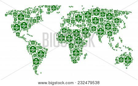 Global Map Pattern Organized Of Dollar Banknote Elements. Vector Dollar Banknote Design Elements Are