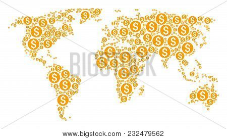 Geographic Map Collage Constructed Of Dollar Coin Elements. Vector Dollar Coin Elements Are United I
