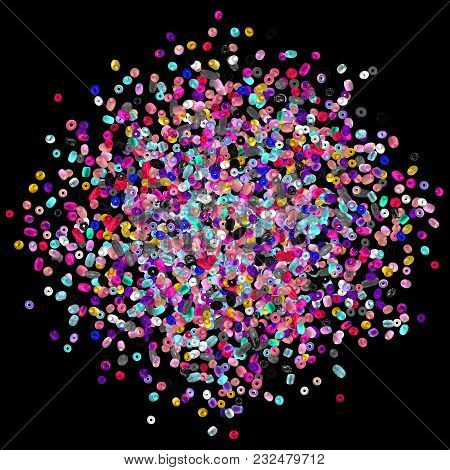 Beads Isolated On White. Fashion Accessory. Handmade Craft. Glass Beads Top View. Sequins. Heap Of G