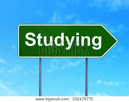 Studying Concept: Studying On Green Road Highway Sign, Clear Blue Sky Background, 3d Rendering