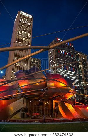 Chicago, Il 4 July 2017- View Of The Jay Pritzker Music Pavilion Designed By Architect Frank Gehry I