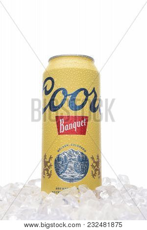 Irvine, California - March 21, 2018: A 24 Ounce Can Of Coors Banquet Beer In Ice. Brewed Solely In G