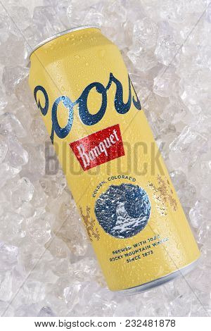 Irvine, California - March 21, 2018: A 24 Ounce Can Of Coors Banquet Beer On Ice. Brewed Solely In G