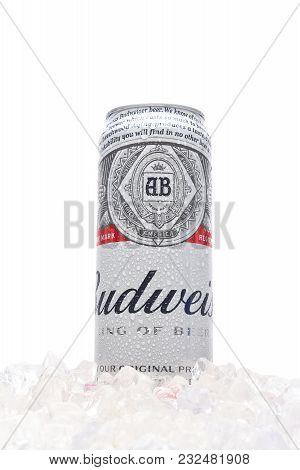 Irvine, California - March 21, 2018: A 25 Ounce King Can Of Budweiser Beer In Ice. Introduced In 187