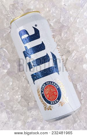 Irvine, California - March 21, 2018: A 24 Ounce King Can Of Miller Lite On Ice. Introduced In 1975 M