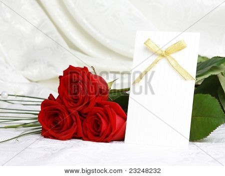 Beautiful Red Roses And Invitation Card
