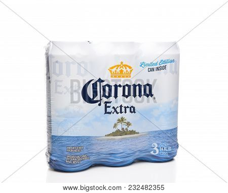 Irvine, California - March 21, 2018: Three Pack Of 24 Ounce Corona Extra Cans. Corona Extra Is A Pal