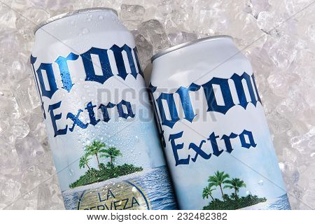 Irvine, California - March 21, 2018: A 24 Ounce Can Of Corona Extra On Ice Closeup. Corona Extra Is